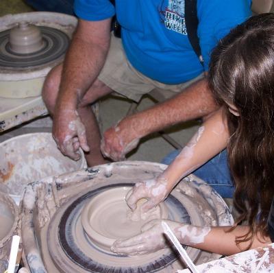 Verge's wheel throwing class at the Pasco Art Asylum
